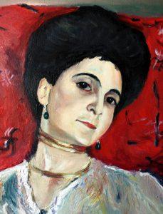 El retrato de María Akímova por Valentín Serov. Una copia