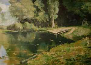 Overgrown Pond by Vasily Polenov. A Copy
